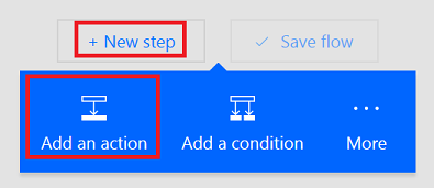 Option to add an action to a flow